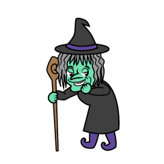 Old Witch Grinning