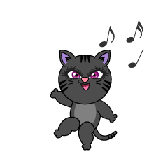 Dancing Black Cat