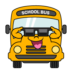 School Bus with  Sunglasses