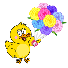 Duck with Bouquet