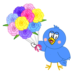 Blue Bird with Bouquet