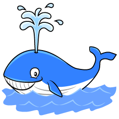 Blue Whale Blows in the Sea